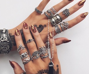 accessories, henna, and hands image