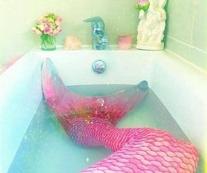 mermaid, pink, and water image