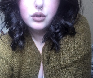 brownhair, lips, and makeup image