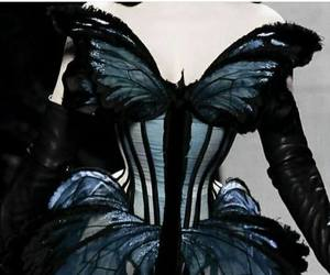 butterfly, dress, and corset image