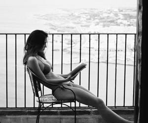 bikini, black and white, and book image