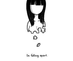 falling, sad, and puzzle image