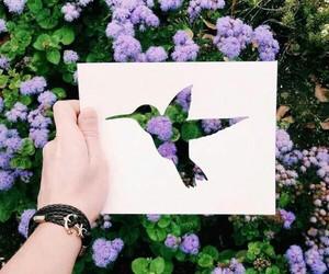 flowers, bird, and art image