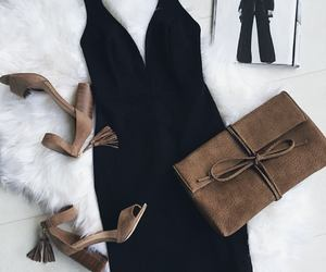 black, clutch, and shoes image