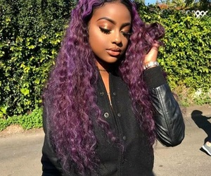 hair, purple, and justine skye image