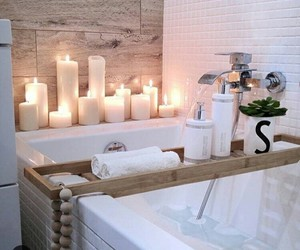 bath, candels, and bathroom image