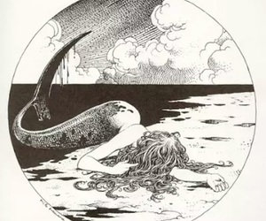 mermaid, art, and black and white image