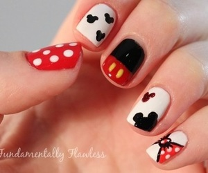 mickey mouse, nails, and minnie mouse image