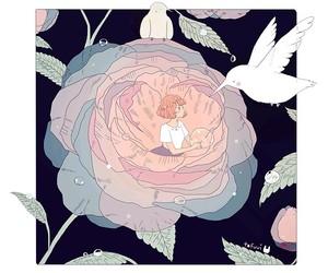 art, flowers, and bird image