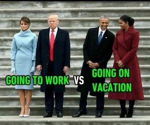 obama, trump, and vacation image