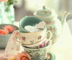 cups, flowers, and tea image
