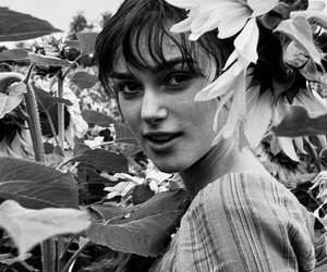 black and white, flowers, and keira knightley image