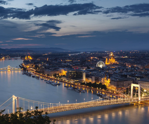 night, budapest, and city image