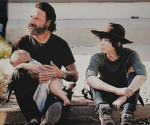 judith, andrew lincoln, and rick grimes image