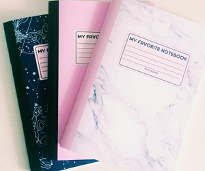 notebook, school, and pink image