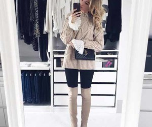 knee high boots, ootd, and ruffle blouse image