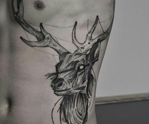 art, tatoo, and deer image