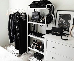 bedroom, black, and closet image