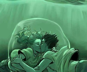 percabeth, kiss, and percy jackson image
