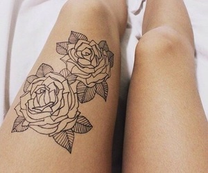 tattoo, rose, and legs image