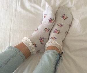 cute, socks, and flowers image