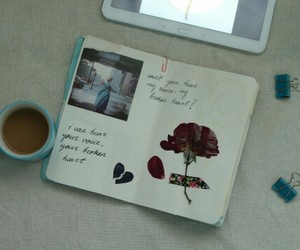 coffee, flowers, and journals image