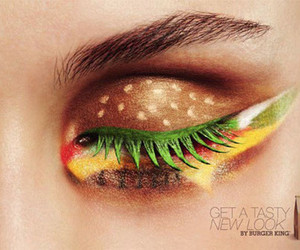 hamburger, makeup, and eye image