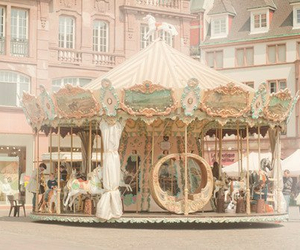 carousel, vintage, and pastel image