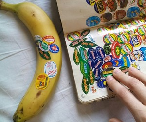 banana, notebook, and stickers image
