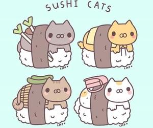 cat, kawaii, and sushi image