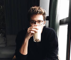 boy, drink, and coffee image