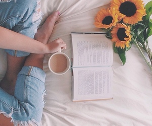 bed, book, and girl image