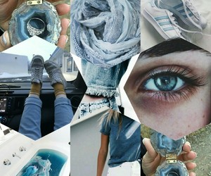 blue, Collage, and grids image
