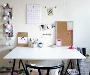 desk, school, and pink image