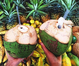tropical, coconut, and fruit image