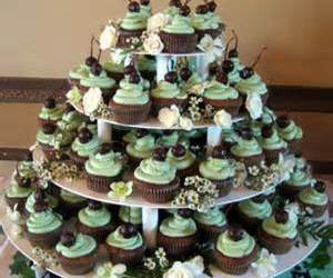 wedding cupcakes and tower of wedding cupcakes image