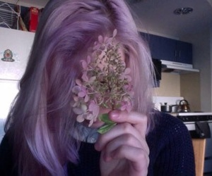 girl, purple, and flowers image