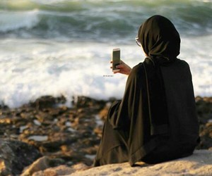 alone, arab, and beach image