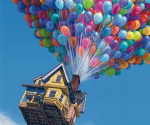 balloons, colors, and house image