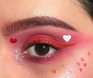 red, makeup, and hearts image