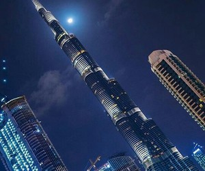 city, Dubai, and night image