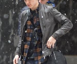 boy, snow, and spiderman image