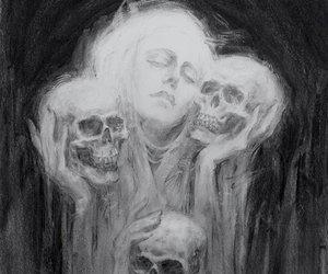 art, black and white, and bones image