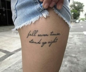 tattoo, quote, and leg image