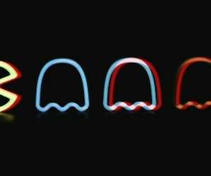 header, pacman, and black image