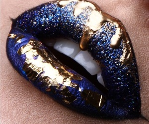 lips, makeup, and blue image