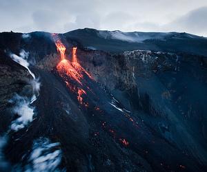 volcano, nature, and lava image