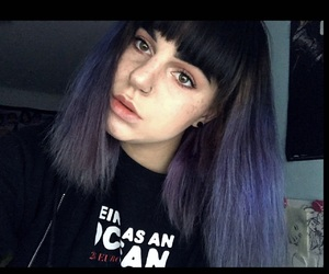 bangs, purple hair, and Tunnels image