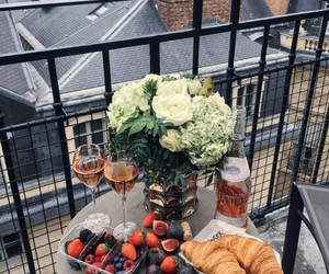 croissant, breakfast, and flowers image