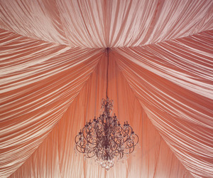 pink, beautiful, and chandelier image